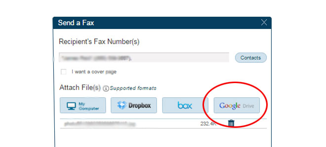 fax using your drive dashboard