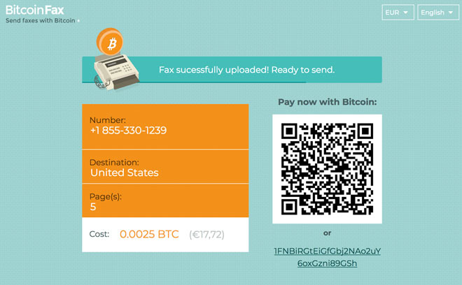 send fax with bitcoins
