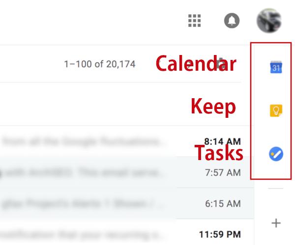 gmail sidebar buttons