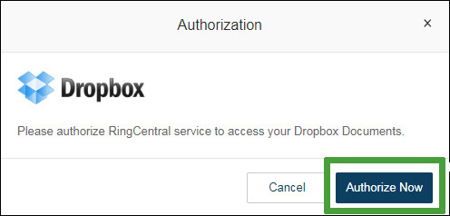 authorizing dropbox with fax service