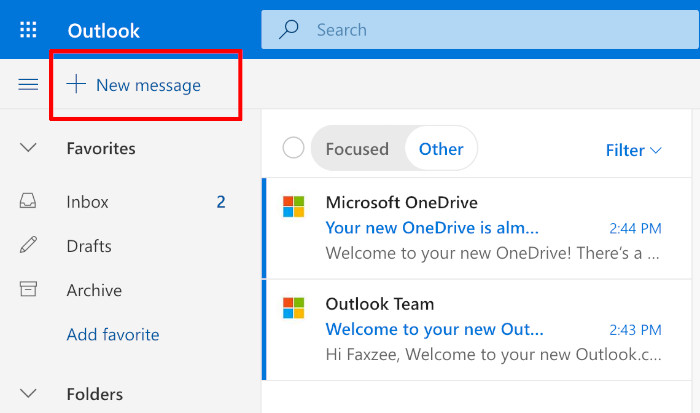 creating a new email in outlook